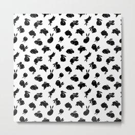 Black Bunny Pattern Metal Print