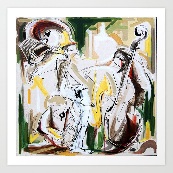 Expressive Musicians Playing Cello Flute Accordion Saxophone drawing Kunstdrucke