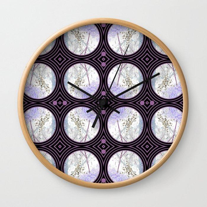 Nature Portals in Periwinkle, Rose & Black Wall Clock