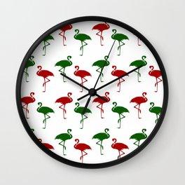 Flamingos Christmas Pattern Red Green Wall Clock