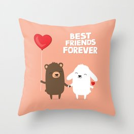 Cute cartoon bear and bunny rabbit holding hands Throw Pillow