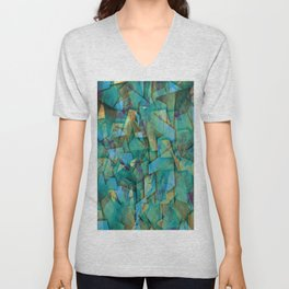 Fragments In blue - Abstract, fragmented art in blue Unisex V-Neck