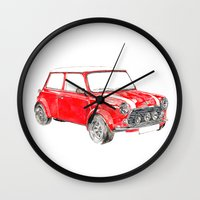 mini cooper Wall Clocks featuring Red Mini Cooper by Meg Ashford