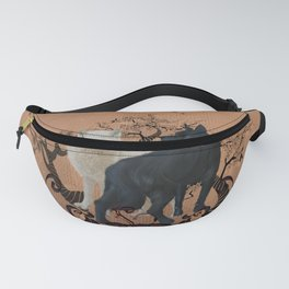 Awesome wolf in black and white Fanny Pack