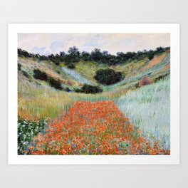 Poppy Field in a Hollow near Giverny by Claude Monet Art Print