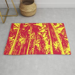 Palm Trees Design in Red and Yellow Rug