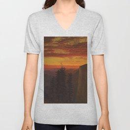 'Dramatic Sunset, Yosemite' landscape painting by Gilbert Munger Unisex V-Neck