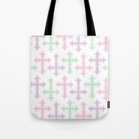 pastel goth Tote Bags featuring Pastel Goth by Glitterati Grunge