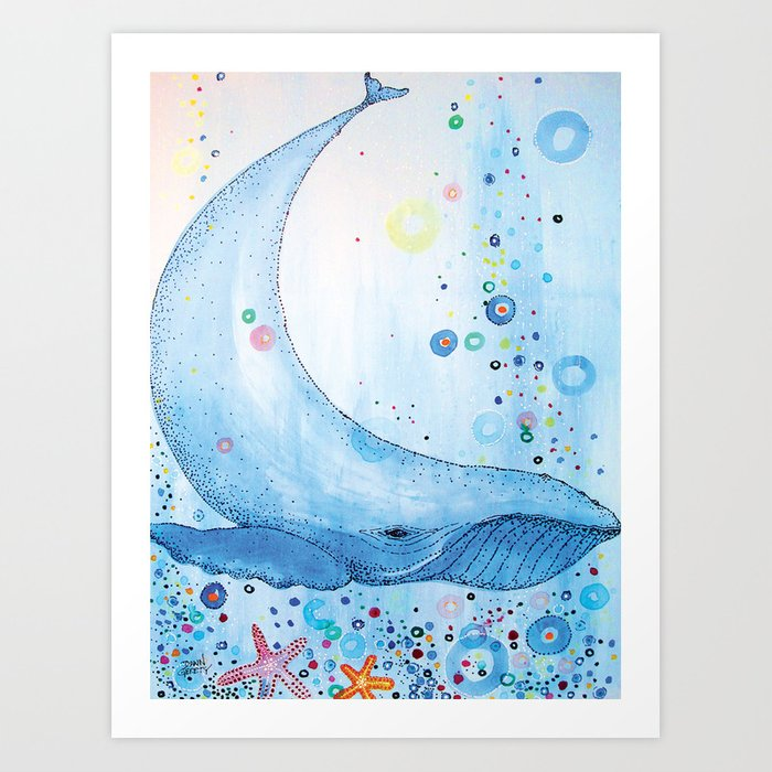 Big Happy Whale Art Print