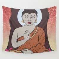 buddha Wall Tapestries featuring Buddha     by Marjolein