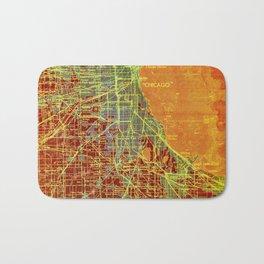 Chicago orange old map Bath Mat