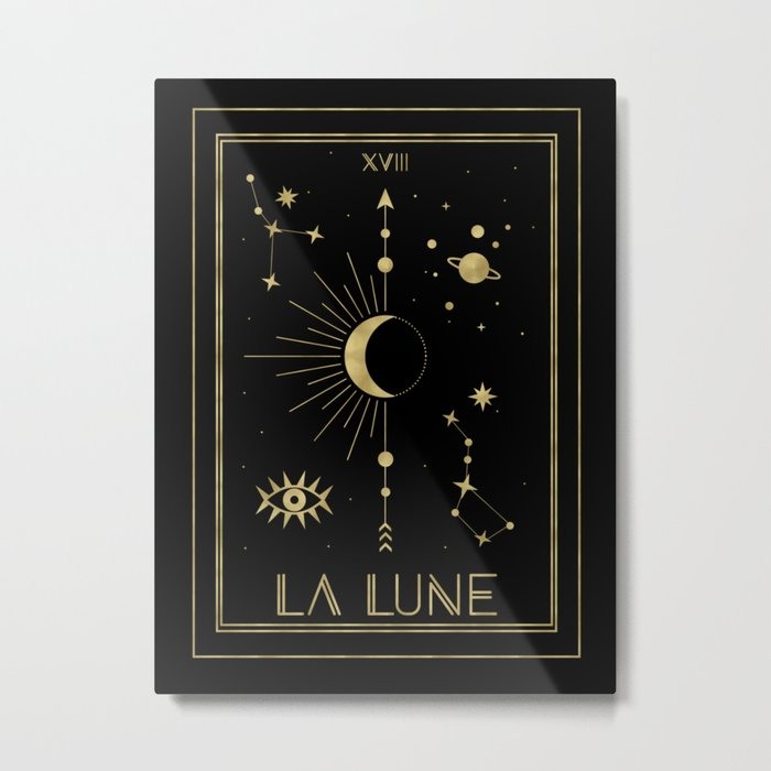 The Moon or La Lune Gold Edition Metal Print