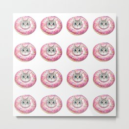 cat donuts pattern Metal Print