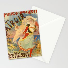 retro folies - bergère le miroir. circa 1892 Stationery Cards