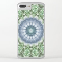 Slate Blue and Green Mandala Clear iPhone Case