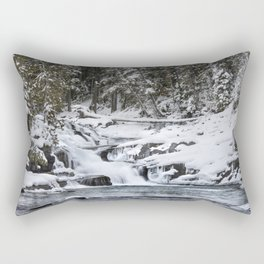 Winter Waterfall - Glacier National Park Rectangular Pillow
