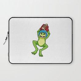 Frog as Footballer with Football and Helmet Laptop Sleeve