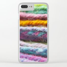 Close up of Colorful Handspun Yarn Clear iPhone Case