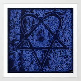 Nightfall Blue Heartagram Art Print