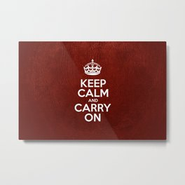 Keep Calm and Carry On - Red Leather Metal Print
