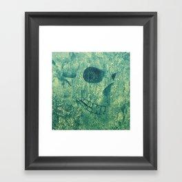 Grunge Skull Green Framed Art Print