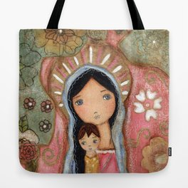 Madonna of the Flowers by Flor Larios Tote Bag