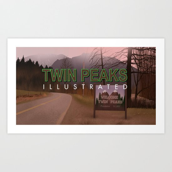 Road Sign Twin Peaks with title Art Print