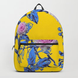 ANTIQUE STYLE PINK & BLUE GARDEN YELLOW COLOR ART Backpack