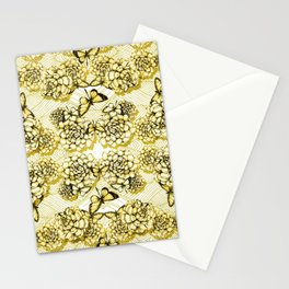 Succulent Motif and Butterfly # Yellow Ochre Stationery Cards