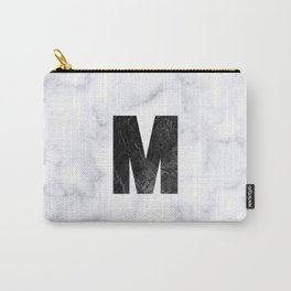 Black Marble Initial Monogram Letter M Carry-All Pouch