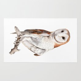 Barn Owl Watercolor Rug