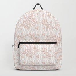 Elegant pink white pastel color chic floral lace Backpack