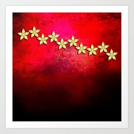 Spectacular gold flowers in red and black grunge texture Art Print
