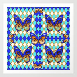 ARGYLE ABSTRACTED  BROWN SPICE  MONARCHS BUTTERFLY & BLUE-WHITE Art Print