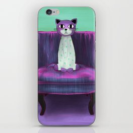 Elegant Cat turquoise iPhone Skin