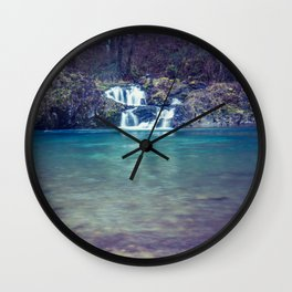 Teal Blue Waterfall Cove Wall Clock