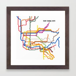 NYC Subway System (Complete) with Text Framed Art Print