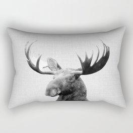 Moose - Black & White Rectangular Pillow
