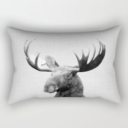 Moose - Black & White Rectangular Pillow