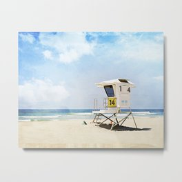 California Beach Photography, Lifeguard Stand San Diego, Blue Coastal Photograph Metal Print