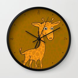 Giraffe - Sepia Brown Wall Clock