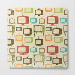retro TV set pattern background. Vector illustration. Metal Print