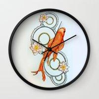 koi fish Wall Clocks featuring Koi Fish by Eleni Kakoullis
