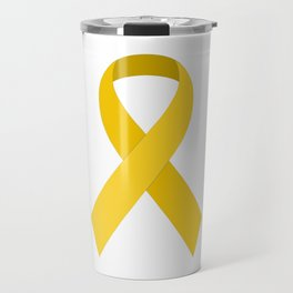 Yellow Awareness Support Ribbon Travel Mug