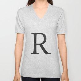 Letter R Initial Monogram Black and White Unisex V-Neck