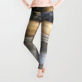 Golden Black Lines Painting Leggings