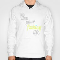 yolo Hoodies featuring #YOLO by Shipwreck Moon Designs