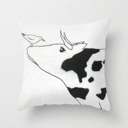 Bird & Cow Throw Pillow