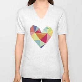 Geometric heart print Unisex V-Neck