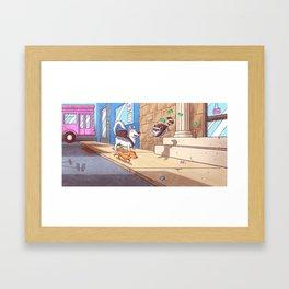 Raccoon Bank Robber Framed Art Print